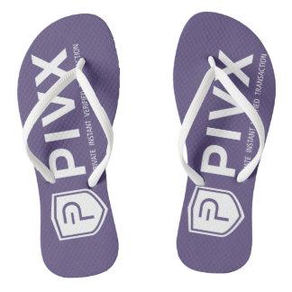 PIVX White Purple Adult Flip Flops