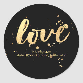 PixDezine dazzled faux gold/love Round Sticker