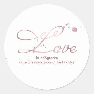 PixDezine Dazzled Faux Rose Gold/love Round Sticker