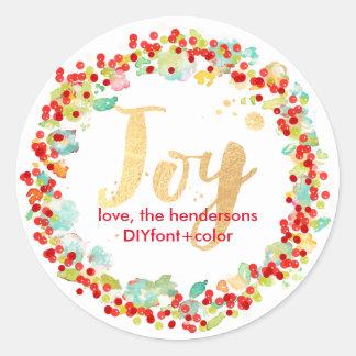 PixDezine holly berry/holiday wreath Round Sticker