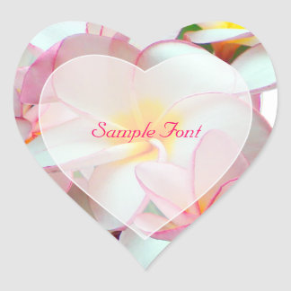 PixDezine pink plumeria/DIY background color Heart Sticker