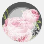 PixDezine pink vintage rose+chalkboard Round Stickers