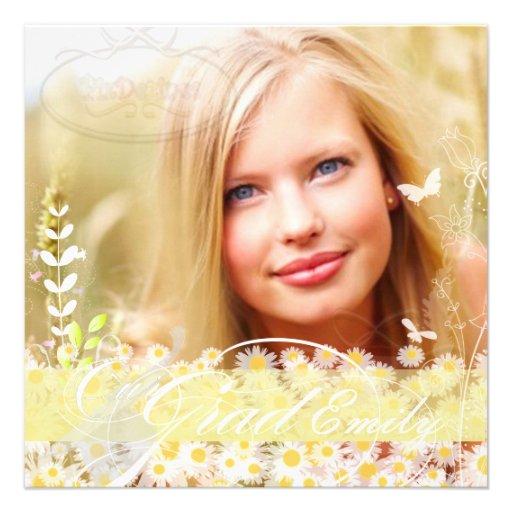 PixDezines 2012 Grads Photo+diy mod daisies Personalized Invite