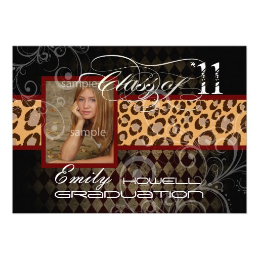 PixDezines 2012 graduation/leopard/diy background Personalized Invites