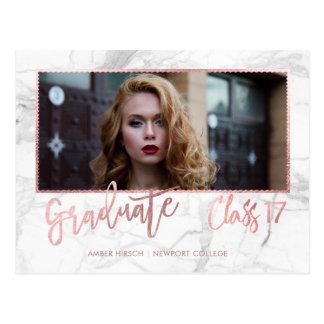 PixDezines 2017 Graduate Marble+Faux Rose Gold Postcard