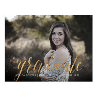 PixDezines 2017 Graduate Photos/Faux Metallic Gold Postcard