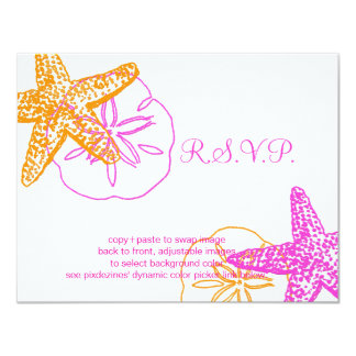 "PixDezines 4.25""x5.5"" rsvp, starfish for 5x7 Card"