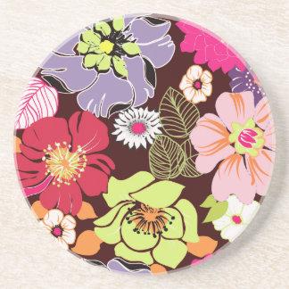 PixDezines Alegre Retro Floral, Custom Background Coaster