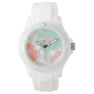 PixDezines alegre retro floral/diy background Wrist Watch