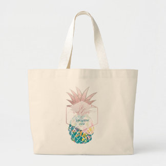 PixDezines Aloha Hawaiian Pineapple/Teal Large Tote Bag