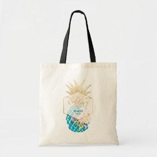 PixDezines Aloha Hawaiian Pineapple/Teal Tote Bag