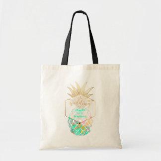 PixDezines Aloha Hawaiian Pineapple/Turquoise Tote Bag