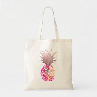 PixDezines Aloha Pineapple+Faux Rose Gold Tote Bag