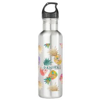PixDezines Aloha Pineapple+Floral Watercolor 710 Ml Water Bottle