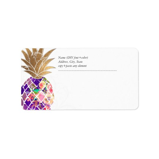 PixDezines Aloha Pineapple+Floral Watercolor Label
