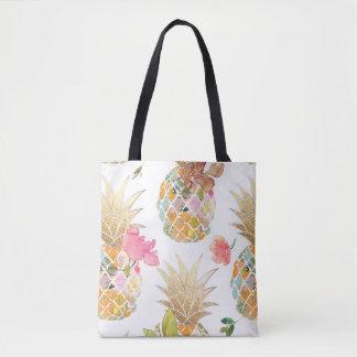 PixDezines Aloha Pineapple+Floral Watercolor Tote Bag
