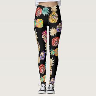 PixDezines Aloha Pineapples/DIY Bckgrnd Color Leggings