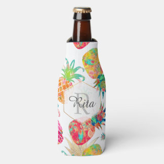 PixDezines Aloha Pineapples Pattern/DIY background Bottle Cooler