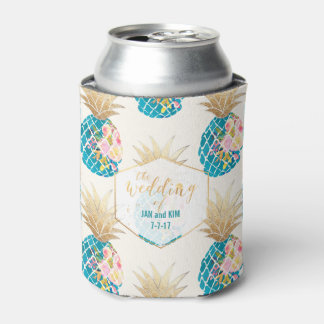 PixDezines Aloha Pineapples Pattern/DIY background Can Cooler