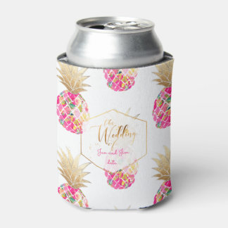PixDezines Aloha Pineapples Pattern/Hot Pink Can Cooler