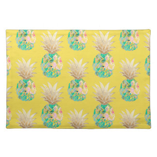 PixDezines Aloha Pineapples Pattern/Turquoiose Placemat