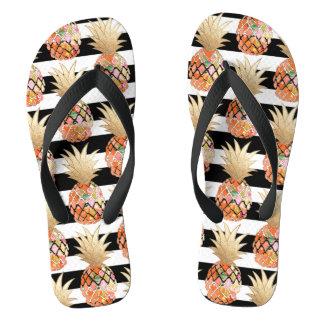 PixDezines Aloha Pineapples+Stripes Thongs