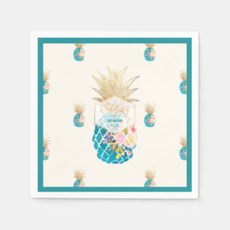 PixDezines Aloha Pineapples/Teal/DIY background Disposable Serviette