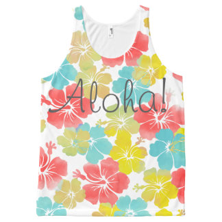 PixDezines aloha retro/hibiscus/orange/yellow/aqua All-Over Print Singlet
