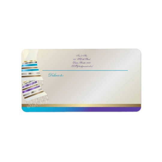 ✡ PixDezines Aqua/Purple Tallits Address Label