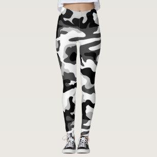 397119d2ec16ef Women's Black White Camo Leggings & Tights   Zazzle AU