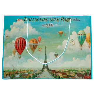 PixDezines balloons over paris/vintage poster Large Gift Bag