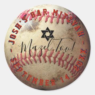 PixDezines Baseball Mitzvah Classic Round Sticker