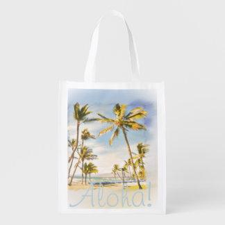 PixDezines beach scene, mauna lani bay Reusable Grocery Bag