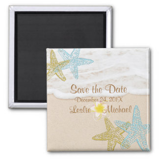 PixDezines beach,starfish+plumeria save the date Magnet