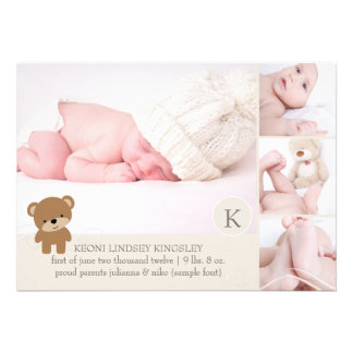 PixDezines bear photo template birth announcement