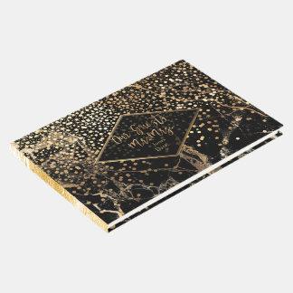 PixDezines BLACK MARBLE+FAUX GOLD CONFETTI Guest Book