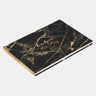 PixDezines BLACK MARBLE+FAUX GOLD VEINS Guest Book