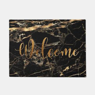 PixDezines BLACK MARBLE FAUX GOLD VEINS, WELCOME Doormat
