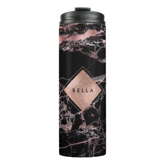 PixDezines BLACK MARBLE FAUX ROSE GOLD VEINS Thermal Tumbler