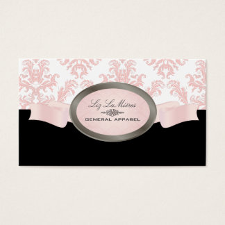 PixDezines Black, Pink, White Céleste Damask Business Card