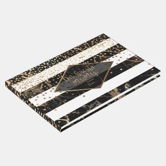 PixDezines BLACK+STRIPES MARBLE+FAUX GOLD CONFETTI Guest Book