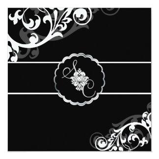 PixDezines Black+White Filigree 13 Cm X 13 Cm Square Invitation Card