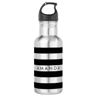 PixDezines black/white stripes/adjustable 532 Ml Water Bottle
