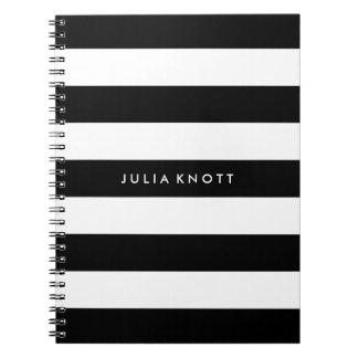 PixDezines black+white stripes/adjustable/DIY colo Spiral Notebook