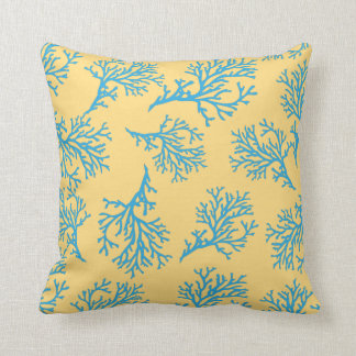 PixDezines blue coral/diy background Cushion