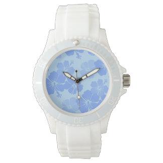 PixDezines blue hibiscus/diy background Wrist Watches