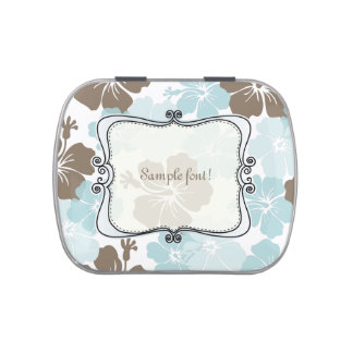PixDezines blue hibisucs/wedding favors mint Jelly Belly Tin