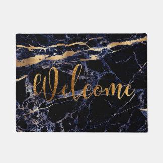 PixDezines BLUE MARBLE FAUX GOLD VEINS, WELCOME Doormat