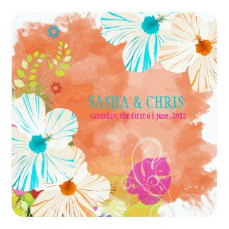 PixDezines blue+orange hibiscus+monstera Custom Invitation