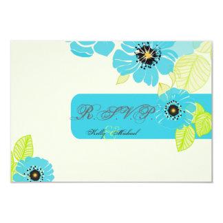 "PixDezines Blue Poppies RSVP cards 3.5"" X 5"" Invitation Card"